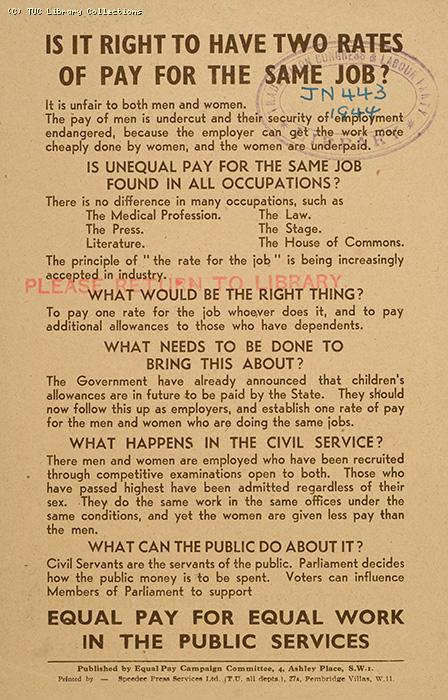 Equal pay leaflet, 1944