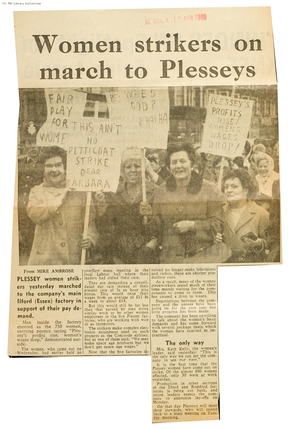 'Women strikers on march to Plesseys', 1969