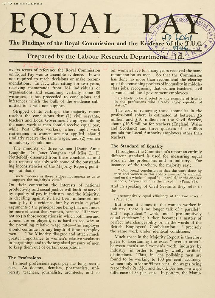 Royal Commission on Equal Pay - LRD pamphlet, 1946