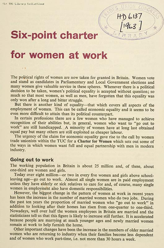 'Six point charter for women at work', 1963