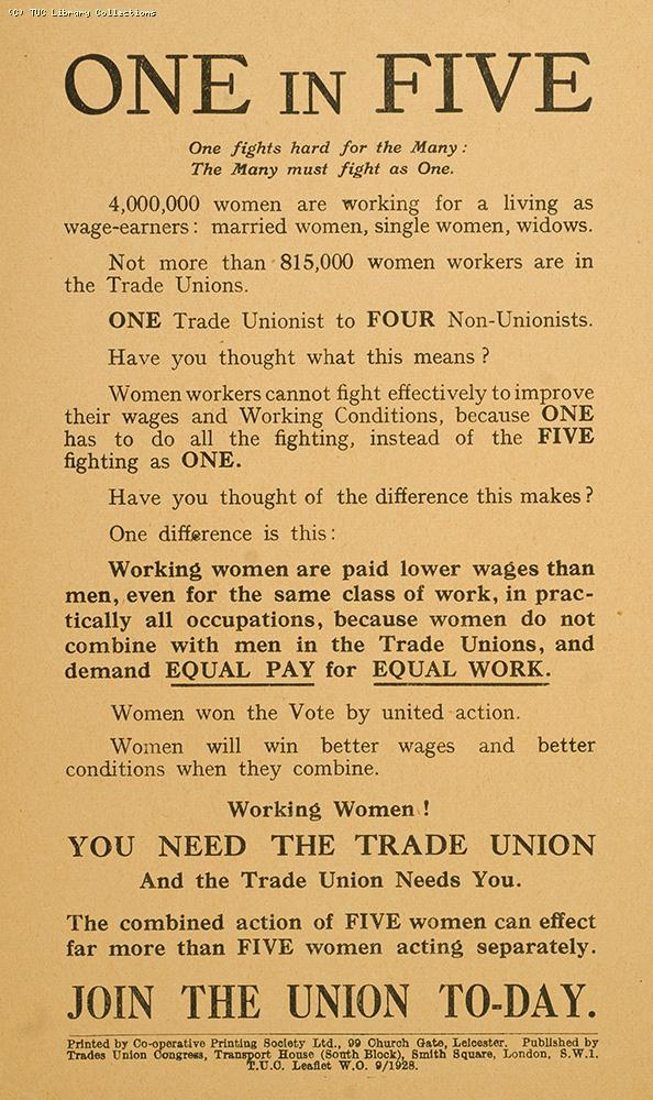 One in Five - TUC leaflet, 1928