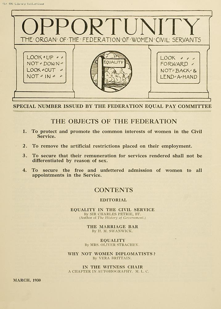 Federation of Women Civil Servants, 1930