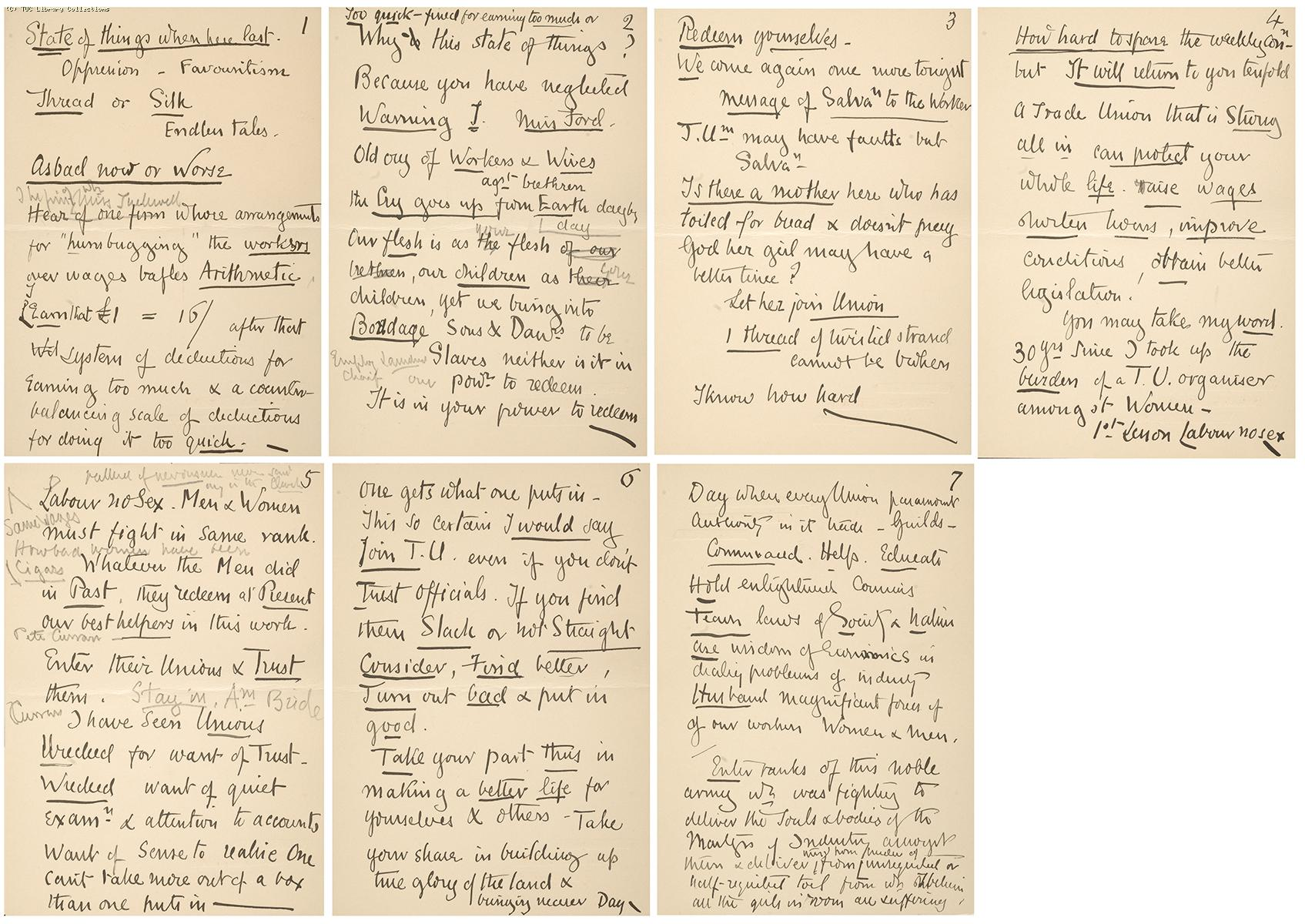 Lady Dilke's speech notes, 1904