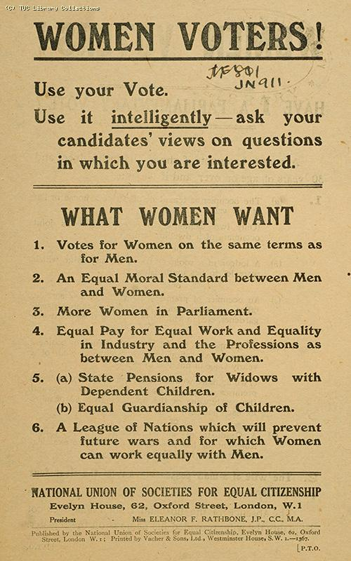 Women voters! - leaflet, 1922