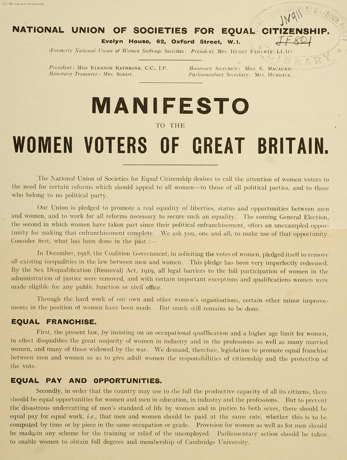 Manifesto to the women voters of Great Britain