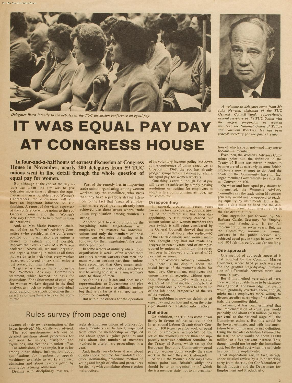 TUC Equal Pay Conference, 1968