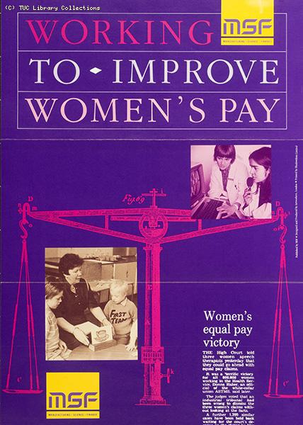 Working to improve women's pay - MSF poster, 1988