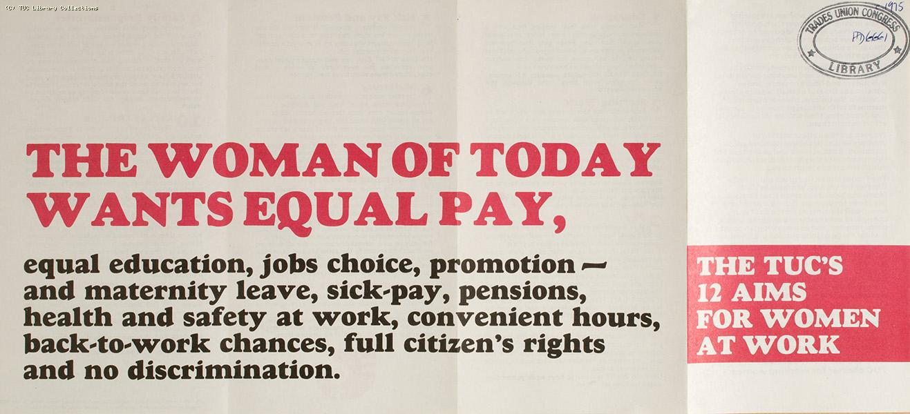 The TUC's 12 aims for women at work, 1975