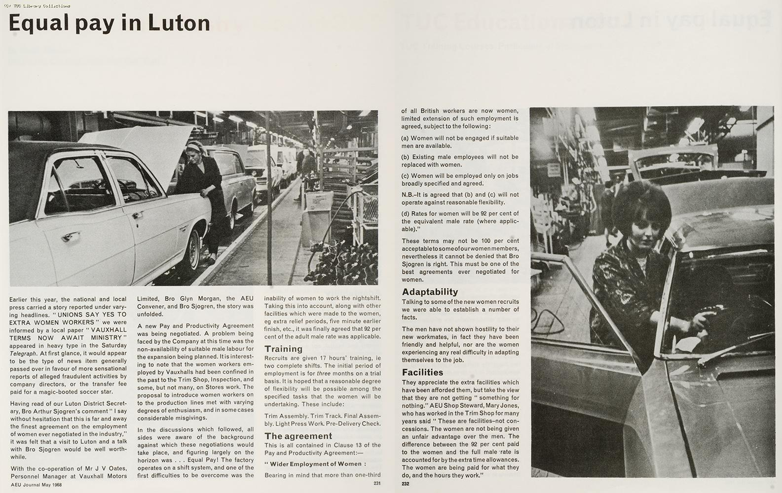 Equal pay in Luton, 1968