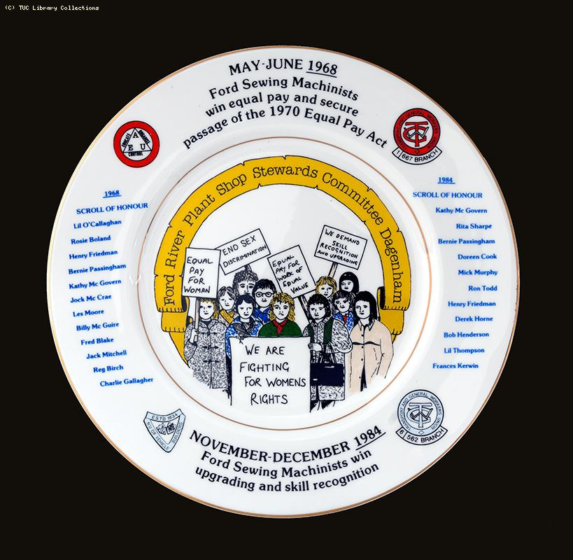 Ford sewing machinists' strikes - commemorative plate, c. 1984