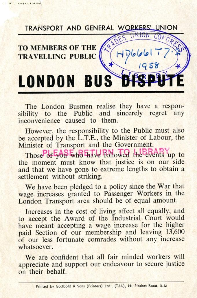 London bus dispute, 1958