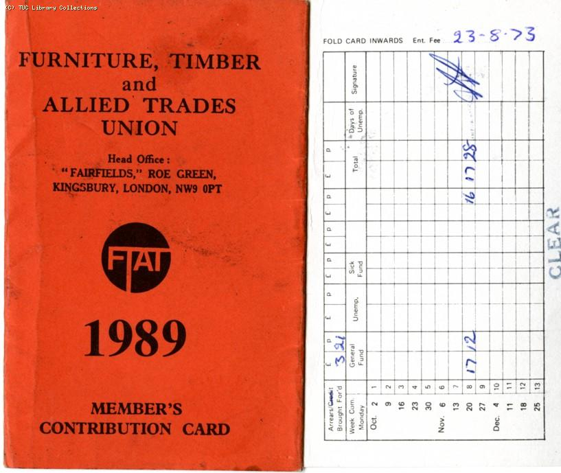 Furniture Timber and Allied Trades Union - member's contribution card, 1989