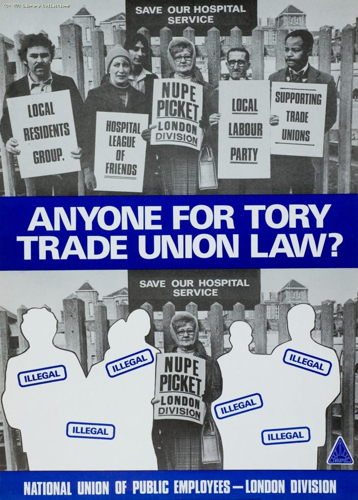 Anyone for Tory trade union law? NUPE poster, 1982