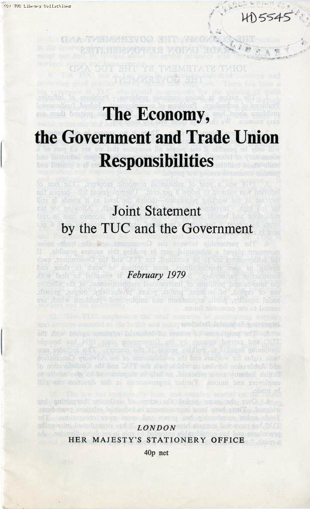 The economy, the government and trade union responsibilities, 1979