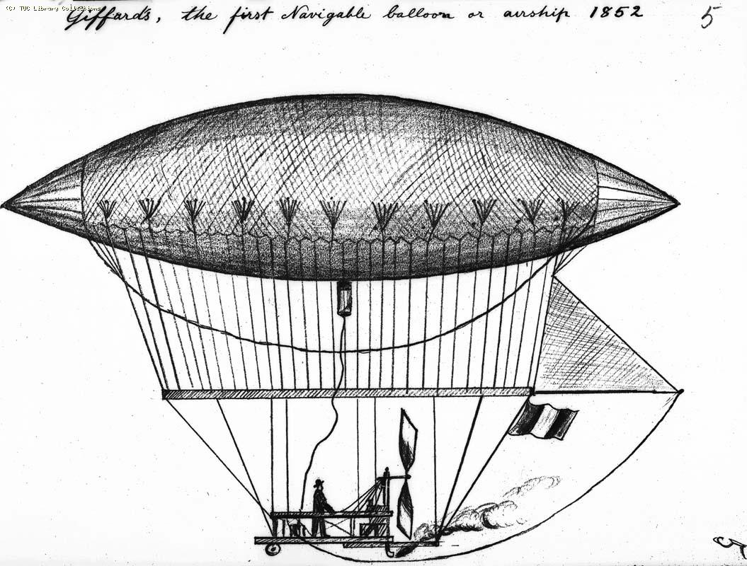 Giffard's, the first navigable balloon or airship, 1852