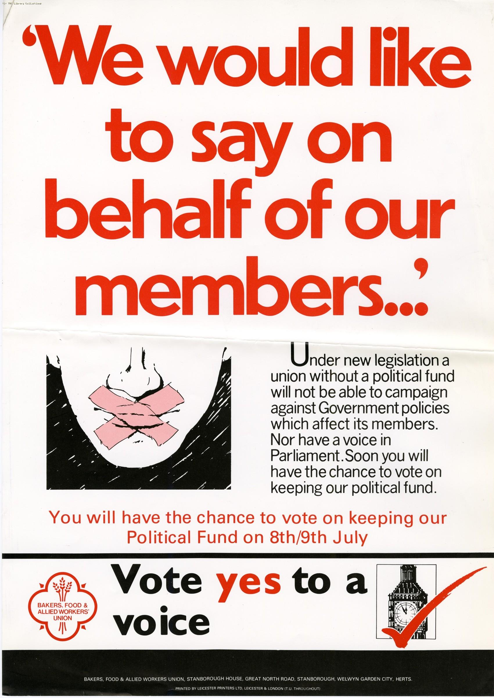 Political Fund ballot - union poster, 1985