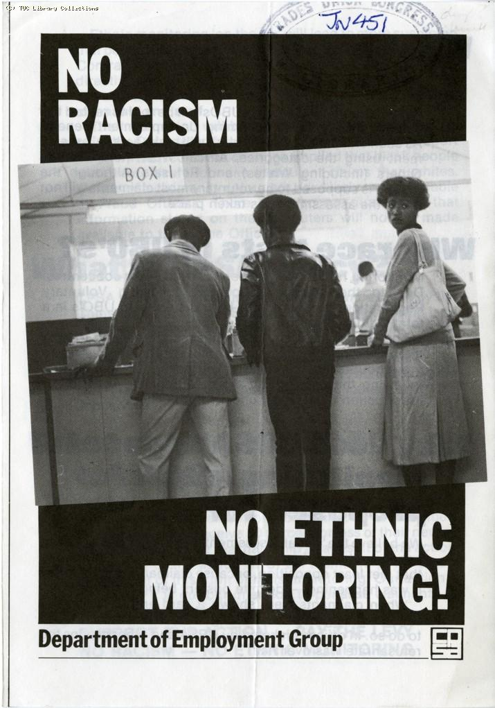 No racism, no ethnic monitoring- CPSA leaflet, 1982
