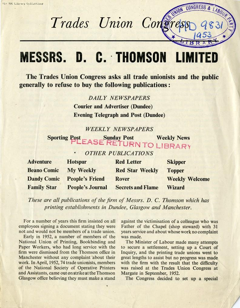 Boycott of D.C. Thomson newspapers, 1953