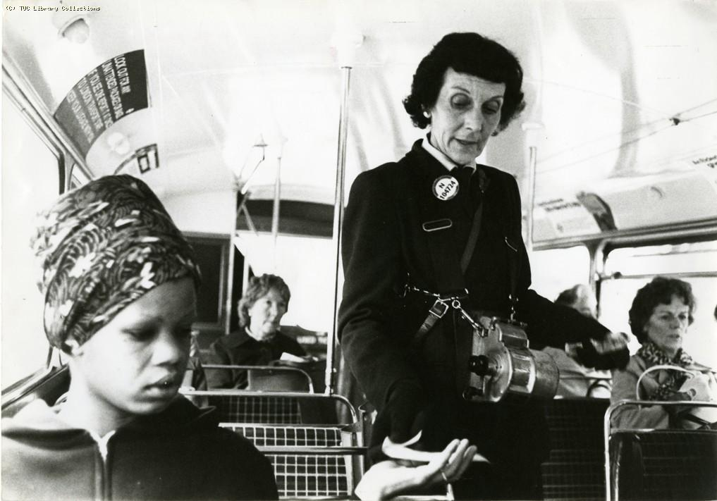Woman bus conductor, c 1980