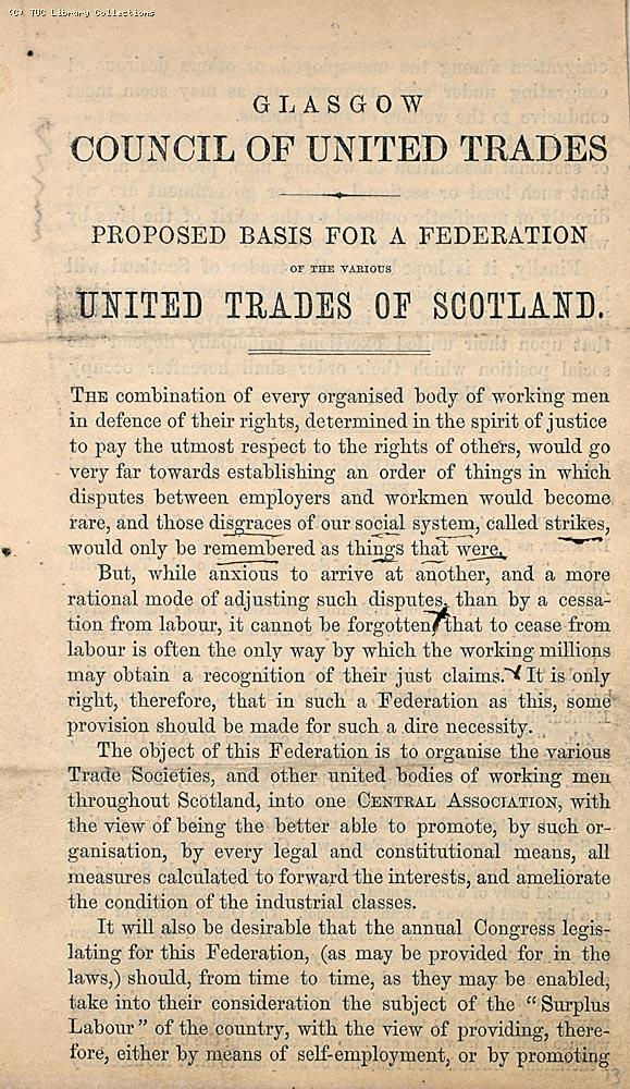 Proposal for a trade union federation in Scotland - Glasgow Council of United Trades, 1861 (page 1)