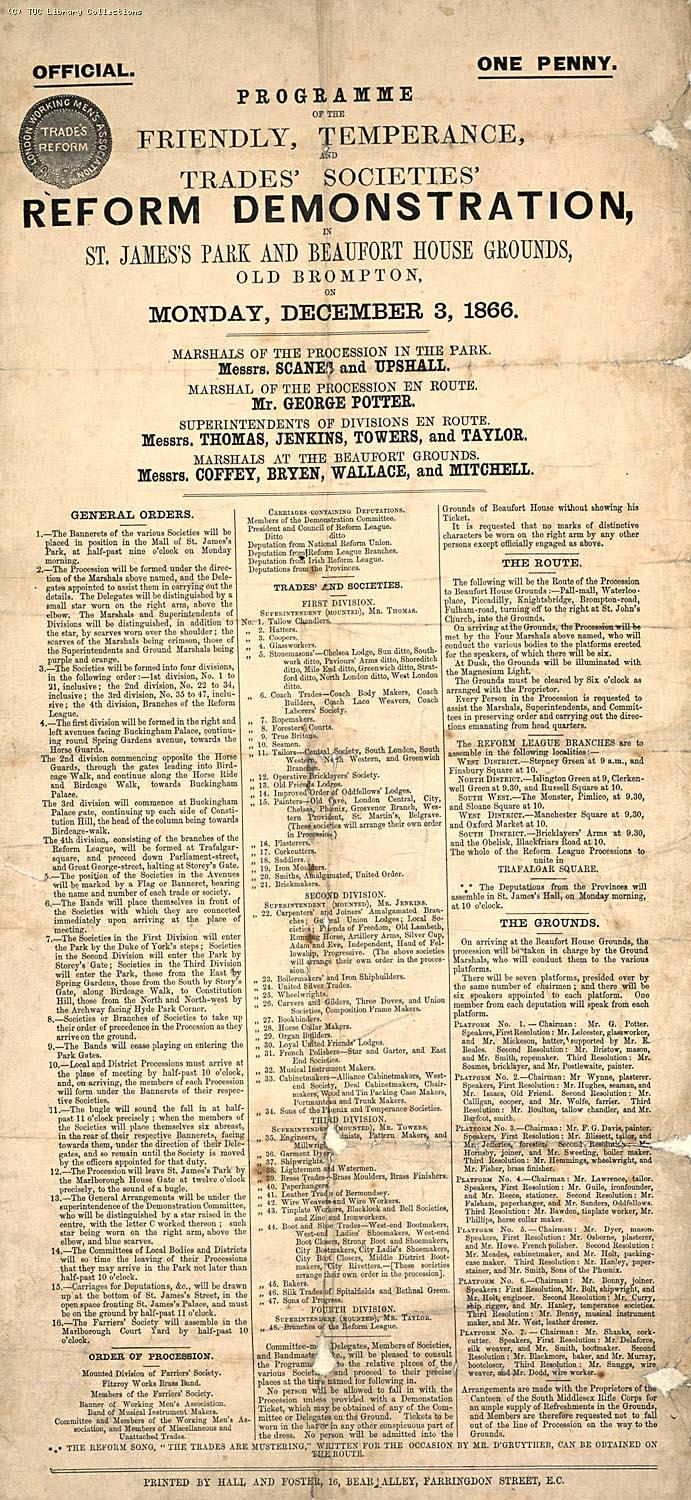 Programme for the Reform Demonstration organised by the London Working Men's  Association on 3 December, 1866