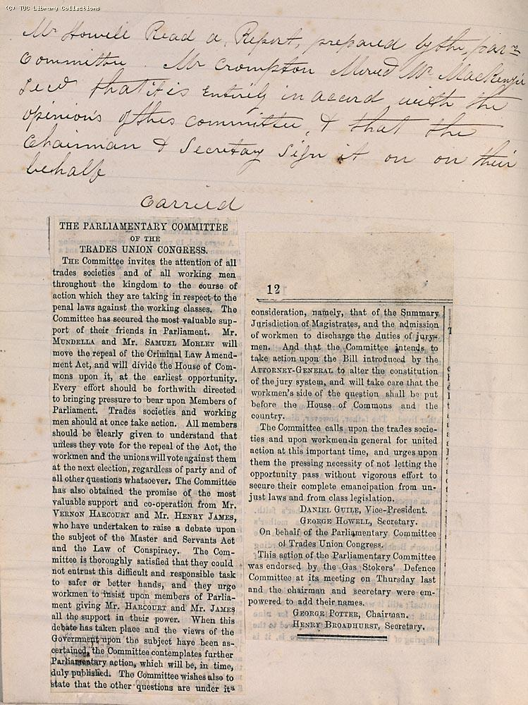 Extract from the minutes of the Gas Workers Defence Committee 20 February, 1873