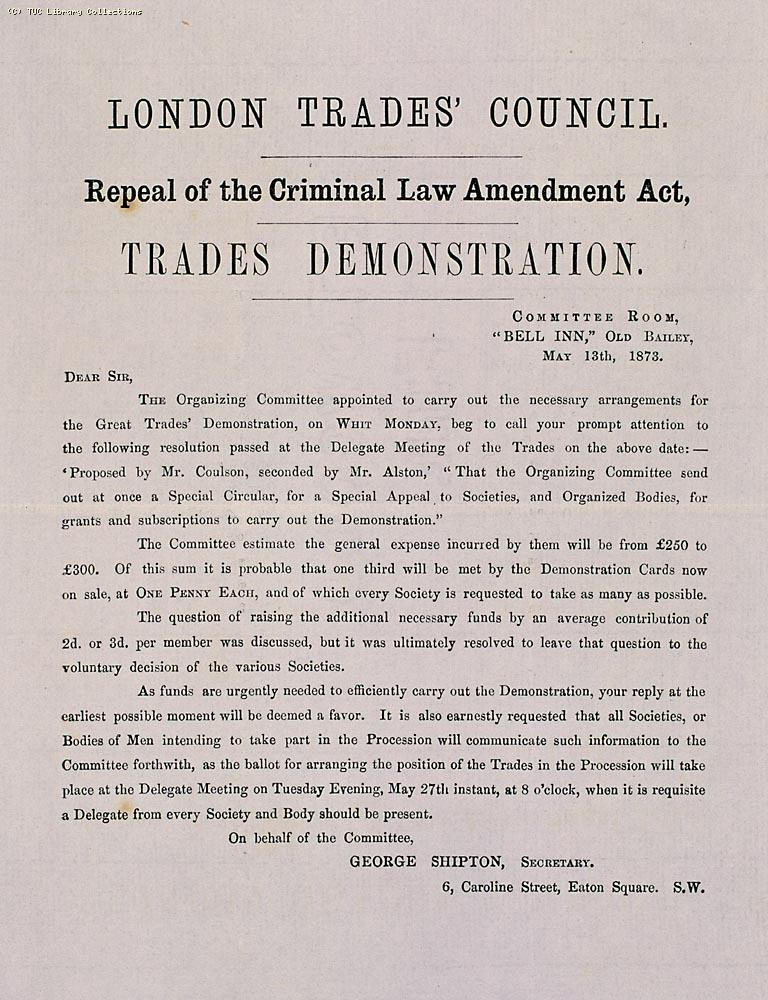 Circular letter from the London Trades Council May 1873, organising a demonstration against the Criminal La