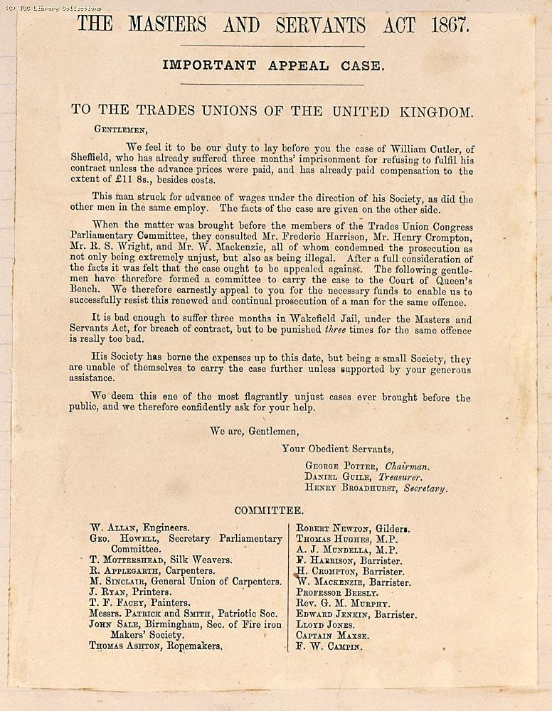 Circular letter issued by the Gas Stokers Defence Committee in 1873