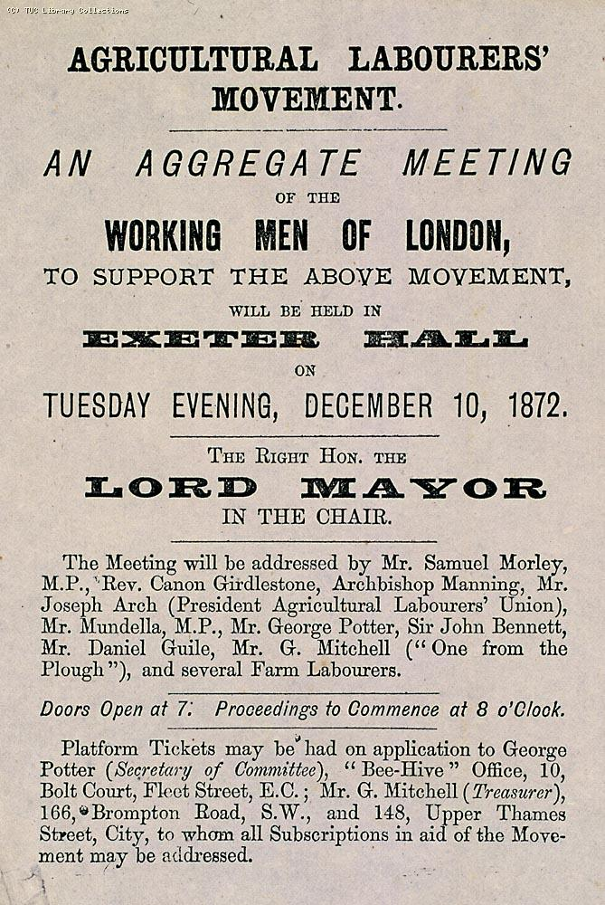 Meeting organised by George Potter and other London union leaders in 1872 to support the New National Agricultural Labourers' Union