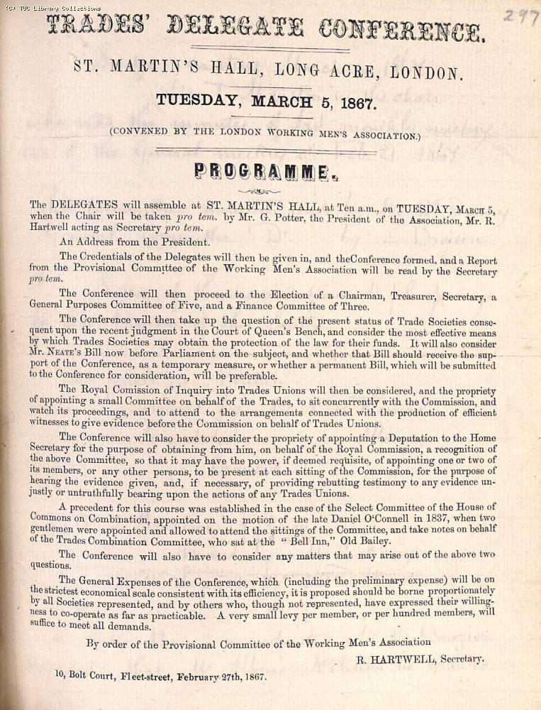 Programme for the Trades' Delegate Conference held at St. Martin's Hall, London on 5 March 1867