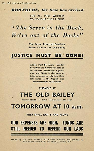 Dock workers prosecuted under Order 1305 - Port Workers Committee leaflet, 1951