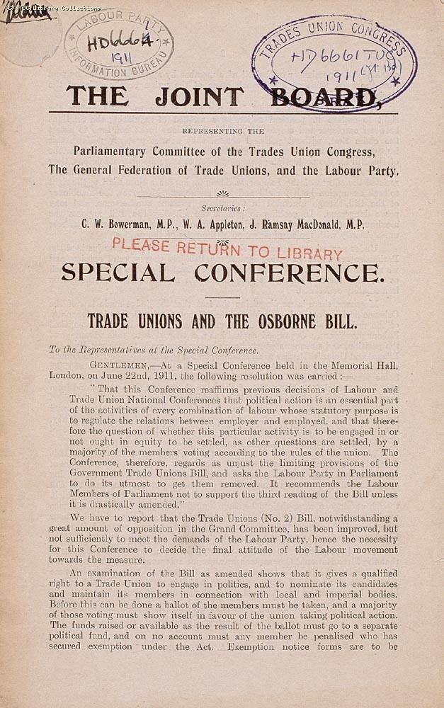 Leaflet - Special Conference, Trade Unions and the Osborne Bill