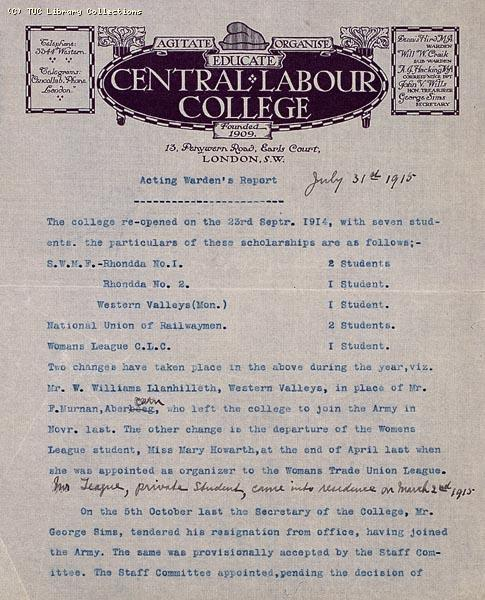 Central Labour College, 1915