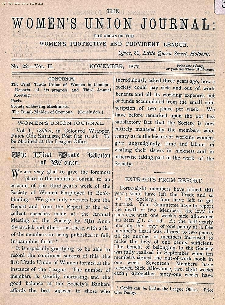 The Women's Union Journal, November 1877