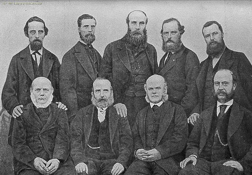 Photograph of members of the Gas Stokers Defence Committee, 1873 .Top row (l-r) H. King, George Potter, M. Sinclair, W. Osborne, Henry Broadhurst. Bottom row (l-r) Mr. Bailey, Daniel Guile, George Odger, George Shipton