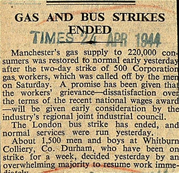 Gas and bus strikes ended, 1944