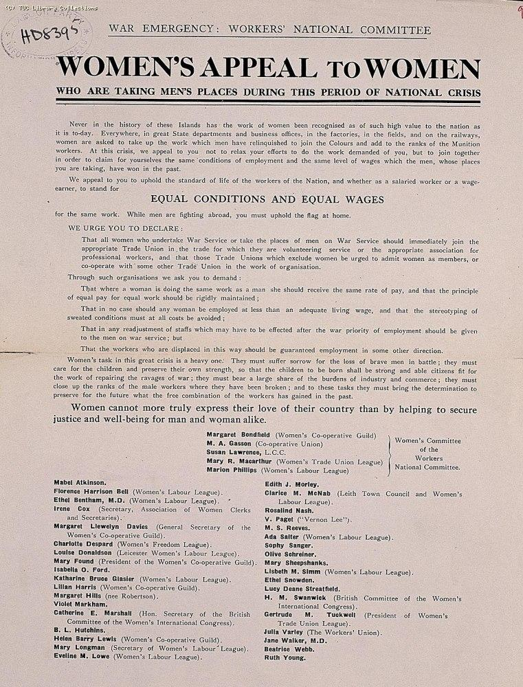 This leaflet was issued by the War Emergency Workers' National Committee in 1915 and signed by representatives of a wide range of women's organisations