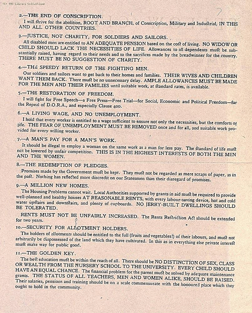 Mary Macarthur's election manifesto, 1918 (page 2)