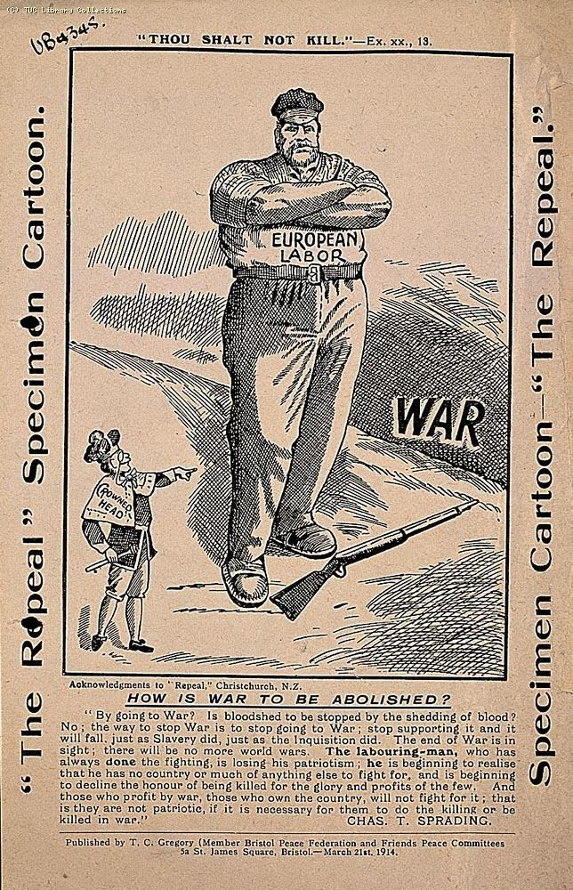 Anti-war cartoon from New Zealand, 1914