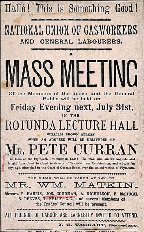 Leaflet advertising a meeting of the National Union of Gasworks and General Labourers in Liverpool, July 1891