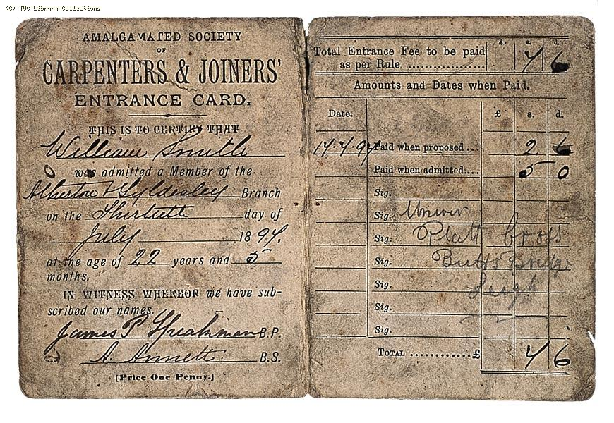 Amalgamated Society of Carpenters and Joiners Entrance Card