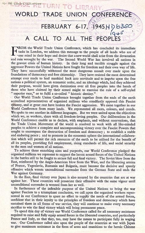 World Trade Union Conference, London 1945 (page 1)