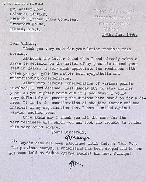Letter from Tom Mboya, 1956