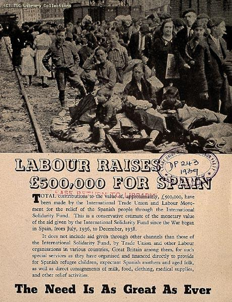 Labour raises £500,000 for Spain, 1939