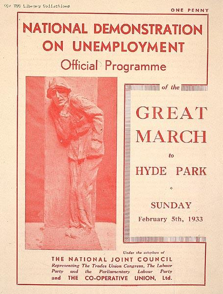 National Unemployment Demonstration 1933 - programme