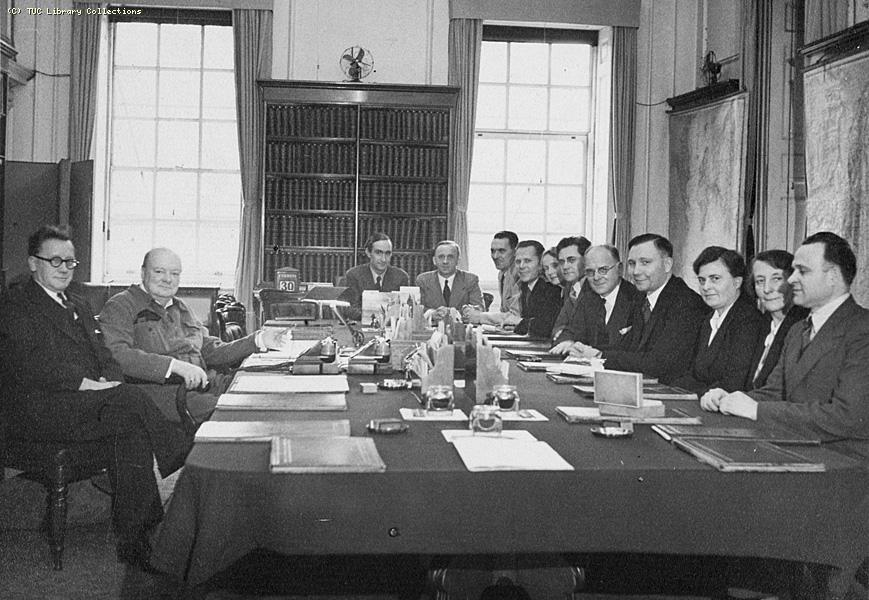 Soviet Trade Union Delegates Visit With Churchill