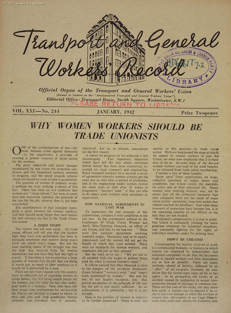 Transport and General Workers Record, Jan. 1942