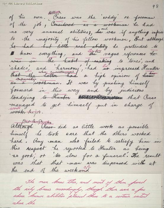 The Ragged Trousered Philanthropists - Manuscript, Page 98a