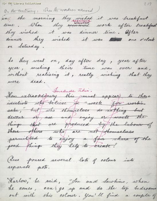 The Ragged Trousered Philanthropists - Manuscript, Page 217