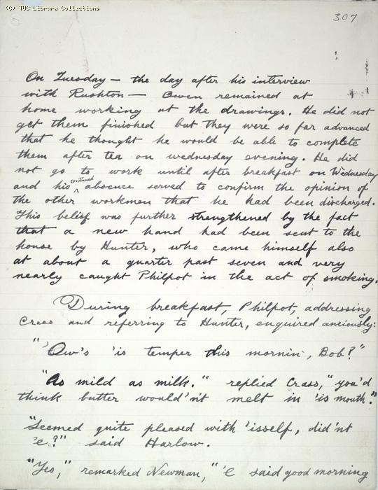 The Ragged Trousered Philanthropists - Manuscript, Page 307